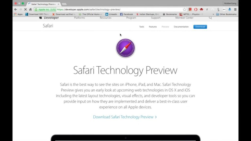 télécharger Safari Technology Preview 46